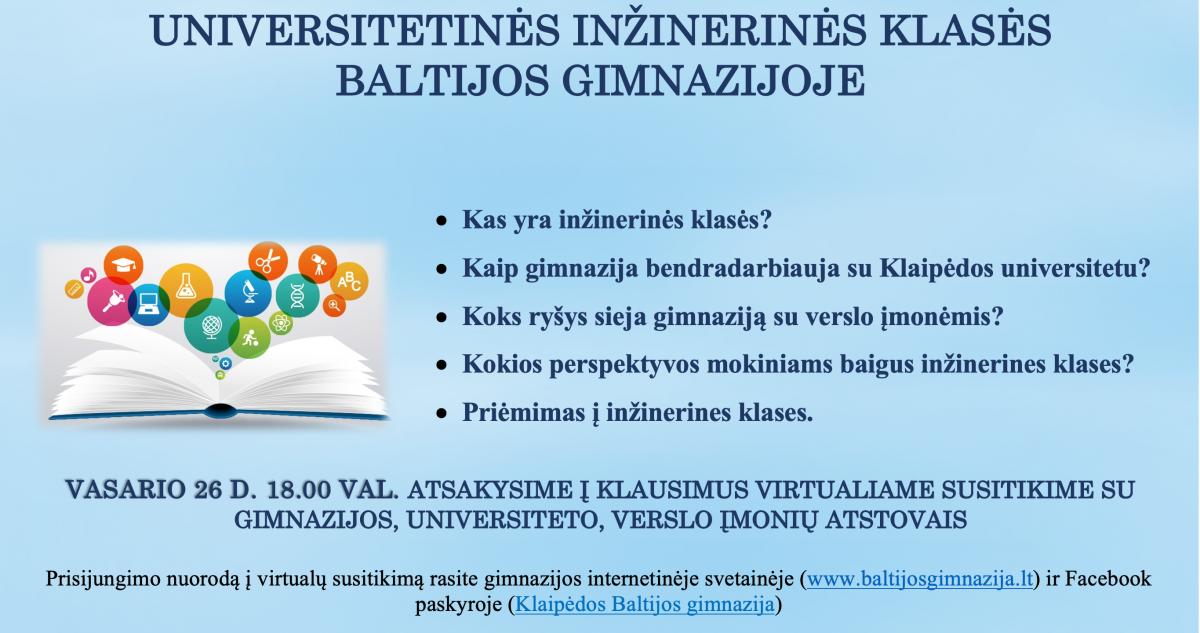 Renginio nuotrauka, Priėmimo ir mokymosi galimybių Klaipėdos Baltijos gimnazijos  inžinerinėse klasėse pristatymas