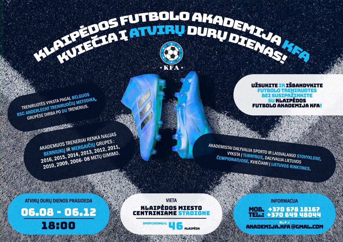 """Futbolo akademijos """"KFA"""" atvirų durų dienos"""
