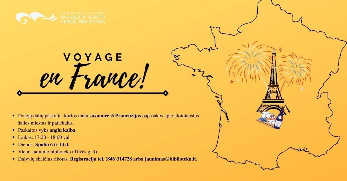 "Renginio nuotrauka, Paskaita ""Voyage en France"""