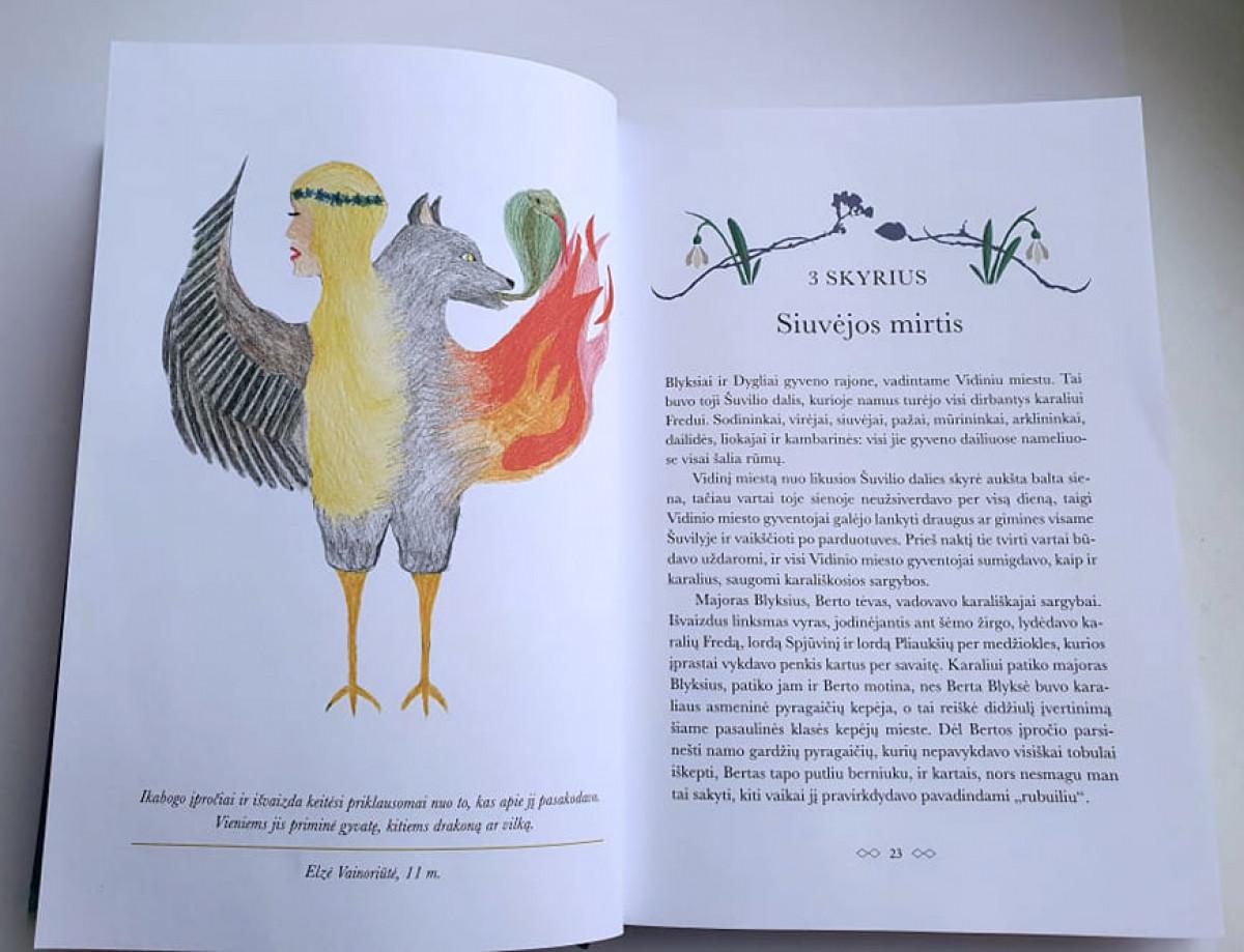 """Vienuolikmetės klaipėdietės E. Vainoriūtės iliustracija išspausdinta naujoje J. K. Rowling knygoje """"Ikabogas"""""""