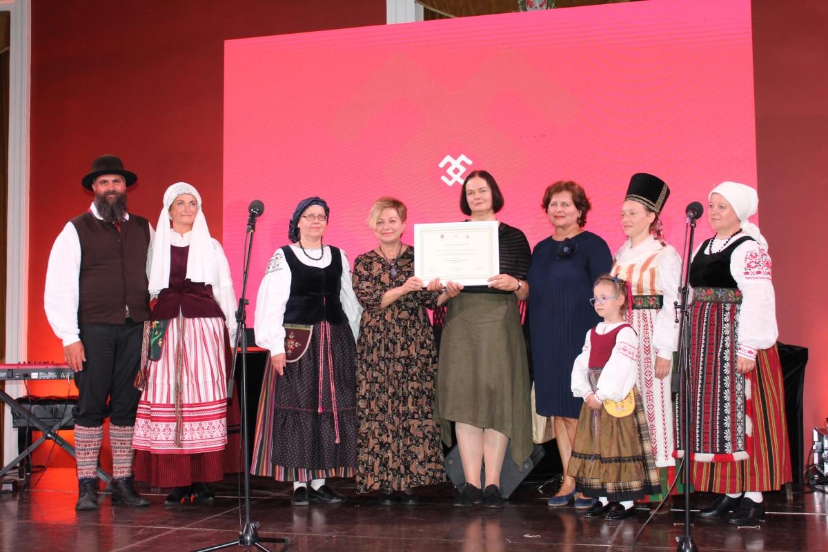 Klaipėdos etnokultūros centrui Vilniaus Rotušėje antrą kartą įteiktas Nematerialaus kultūros paveldo vertybių sertifikatas