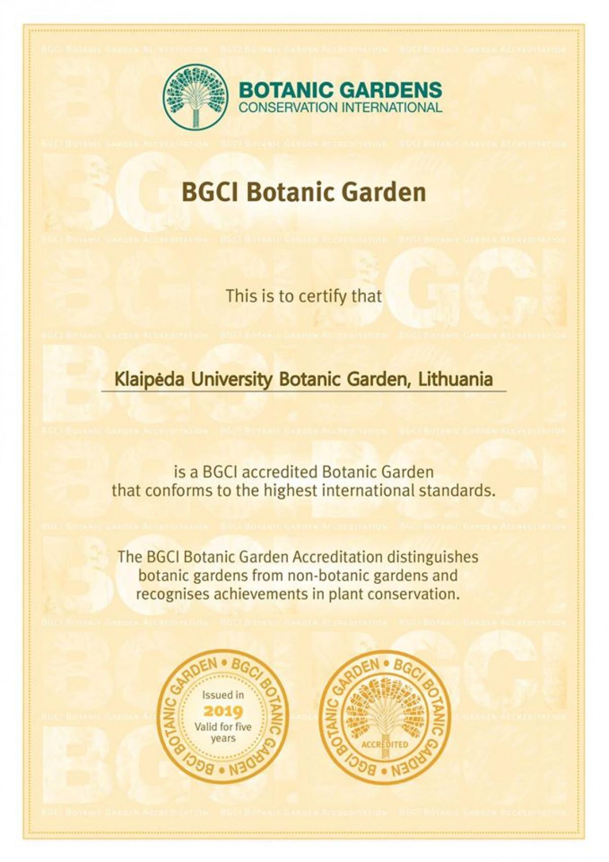 KU Botanikos sodas pripažintas tarptautiniu lygiu