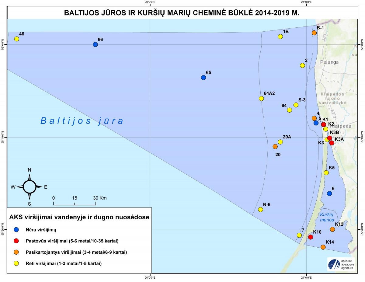Kaip paplitusios teršiančios medžiagos Kuršių mariose ir Baltijos jūroje?