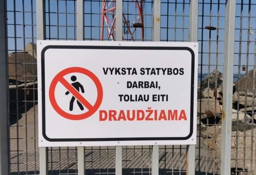 įspėjimas ženklas uostas molas klaipėda