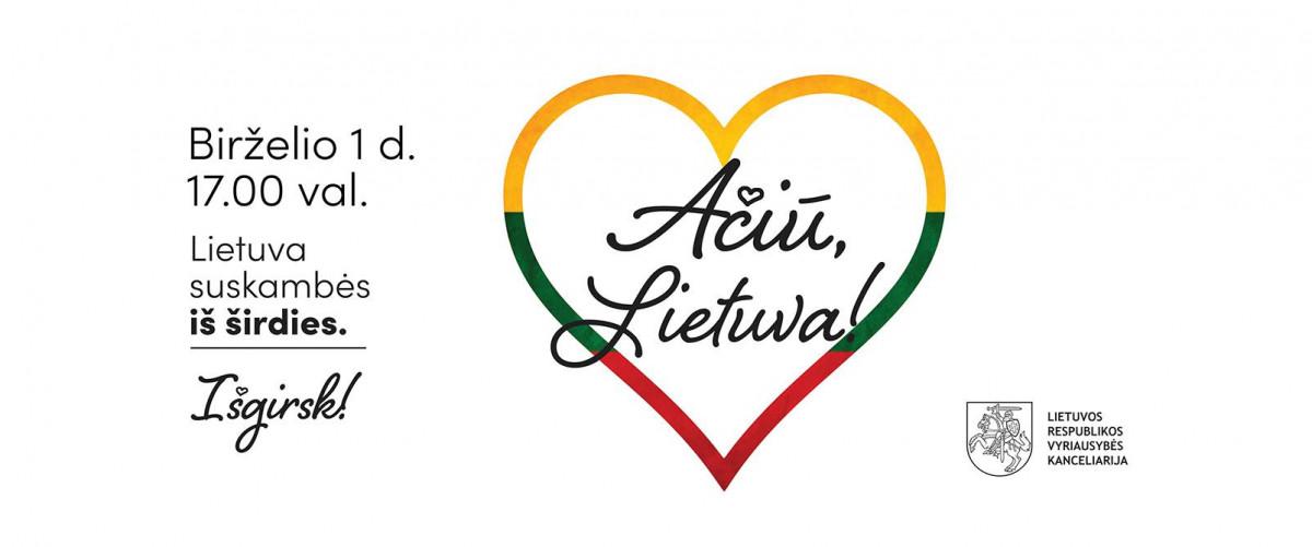 """Birželio 1 d. visoje šalyje vyks visuotinė akcija """"Ačiū, Lietuva"""""""